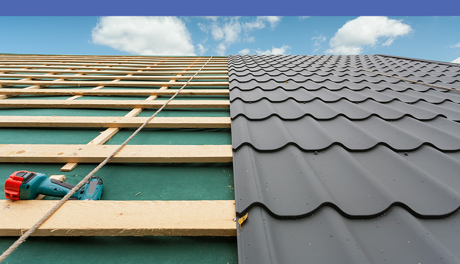 Partially Installed Roof Shingles